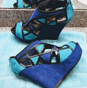 "Color-Blocked Faux Suede 5"" Wedge Heels."